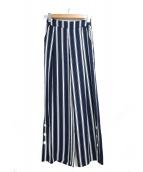 NARA CAMICIE(ナラカミーチェ)の古着「ボタンデザインストライプワイドパンツ」|ブルー