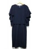 LAUTRE AMONT(ロートレアモン)の古着「ガルーダドビークロスラッフルスリーブワンピース」|ネイビー