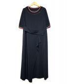 Gabardine K.T(ギャバジンケーティー)の古着「ジャージー5分袖ワンピース」|ブラック