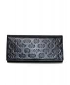 ()の古着「型押し2つ折りレザー長財布」|ブラック