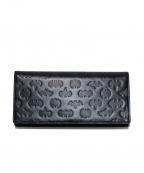SAMANTHA KINGZ(サマンサキングス)の古着「型押し2つ折りレザー長財布」|ブラック