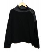 HUMAN WOMAN(ヒューマンウーマン)の古着「レーヨンストレッチポンチカットソー」 ブラック