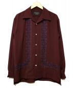UNITED TOKYO(ユナイテッドトーキョー)の古着「刺繍オープンカラーシャツ」 ボルドー