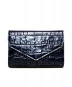()の古着「クロコ型押し2つ折り財布」|ネイビー