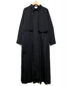 RAY BEAMS(レイビームス)の古着「プリーツキリカエシャツワンピース」|ブラック