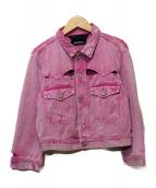 DIESEL(ディーゼル)の古着「ダメージ加工デニムジャケット」 ピンク