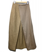 ROSSO(ロッソ)の古着「異素材マキシスカート」|ベージュ