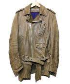 Francis T MOR.K.S(フランシストモークス)の古着「ホースレザージャケット」|ベージュ