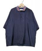 TOGA VIRILIS(トーガ ヴィリリース)の古着「サテンポロシャツ」|ネイビー