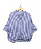 MACPHEE(マカフィ)の古着「コットンブロード ハーフスリーブワイドシャツ」|ブルー