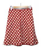 PRADA(プラダ)の古着「ツイード千鳥格子スカート」 レッド