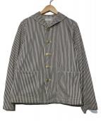 ATLAST & CO(アットラスト)の古着「ヒッコリーカバーオール」|スカイブルー