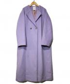 ROSE BUD(ローズバッド)の古着「ラペル折り返しAラインコート」 ラベンダー