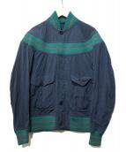KOLOR(カラー)の古着「ナイロンポリエステルニット切替ブルゾン」|ネイビー