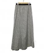 IENA(イエナ)の古着「シフォンプリントランダムフレアスカート」|ブラック