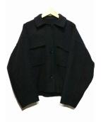 HUMAN WOMAN(ヒューマンウーマン)の古着「リバーメルトンブルゾンジャケット」 ブラック