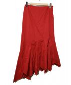 Jean Paul GAULTIER FEMME(ジャンポールゴルチエフェム)の古着「ペプラムマキシスカート」|レッド