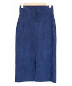 MACPHEE(マカフィー)の古着「フェイクスエードIラインスカート」 ネイビー