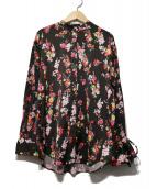 PEELSLOWLY(ピールスローリー)の古着「ボウタイフラワーシャツブラウス」|ブラック