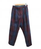 UMIT BENAN(ウミットベナン)の古着「2タックチェックテーパードパンツ」|ネイビー×レッド