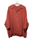 COOTIE(クーティ)の古着「Rayon Open-Neck S/S Shirt」 ボルドー