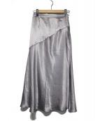 FRAY ID(フレイアイディー)の古着「サイドボタンナロサテンスカート」|シルバー
