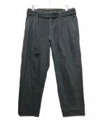 KUON×DAN(クオン×ダン)の古着「アップサイクル襤褸パッチ・ベルテッドテーパード」|ブラック