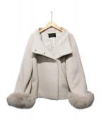 STRAWBERRY FIELDS(ストロベリーフィールズ)の古着「MANTECOビーバー ファー付きコート」|ホワイト