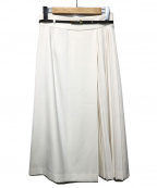 TONAL(トーナル)の古着「ベルト付アシメプリーツスカート」 ホワイト