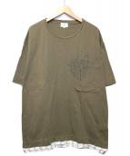 LANVIN en Bleu(ランバンオンブルー)の古着「コンビネーション デザイン半袖カットソー」 カーキ