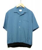 LANVIN en Bleu(ランバンオンブルー)の古着「オープンカラーデザインリブシャツ」 ブルー
