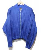 ISSEY MIYAKE(イッセイミヤケ)の古着「プリーツボンバージャケット」|ブルー