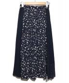 JILL STUART(ジルスチュアート)の古着「ルイフラワードッキングスカート」|ネイビー