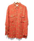gourmet jeans(グルメジーンズ)の古着「レーヨン総柄シャツ」|レッド