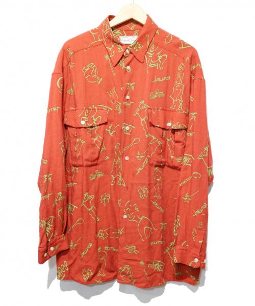 gourmet jeans(グルメジーンズ)gourmet jeans (グルメジーンズ) レーヨン総柄シャツ レッド サイズ:3の古着・服飾アイテム