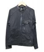 G-STAR RAW(ジースターロウ)の古着「エコレザー切替スタンドカラージャケット」|ブラック