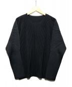 HOMME PLISSE ISSEY MIYAKE(オム プリッセ イッセイ ミヤケ)の古着「L/S プリーツカットソー」|ブラック