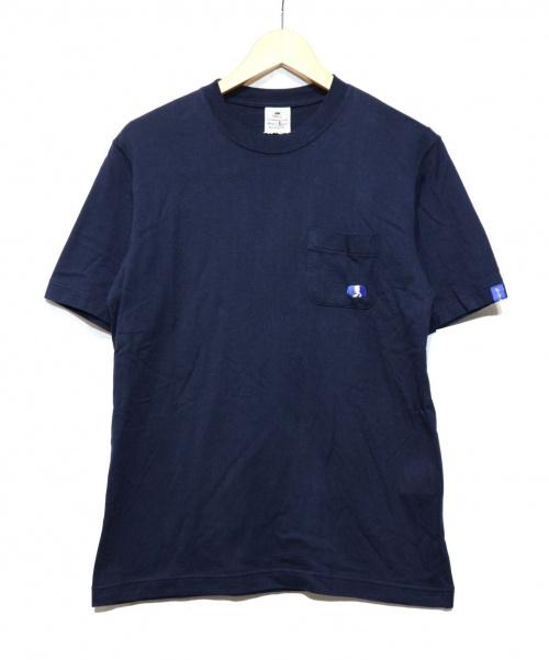 LOOPWHEELER(ループウィラー)LOOPWHEELER (ループウィラー) シャケくまポケットTシャツ ネイビー サイズ:SMALLの古着・服飾アイテム