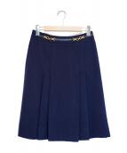 CELINE(セリーヌ)の古着「ホースビットウールスカート」|ネイビー