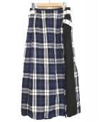 ONEIL OF DUBLIN(オニール オブ ダブリン)の古着「ラップスカート」|ネイビー