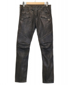 BALMAIN(バルマン)の古着「ユーズド加工バイカーラムレザーパンツ」|ブラック