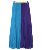 ASTRAET(アストラット)の古着「ワンサイドマキシプリーツスカート」|ブルー×パープル