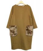 RIVE DROITE(リヴドロワ)の古着「ポケットファーポンチワンピース」|キャメル