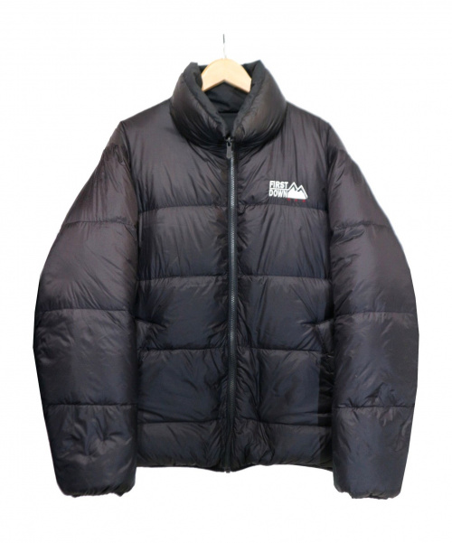 FIRST DOWN(ファーストダウン)FIRST DOWN (ファーストダウン) リバーシブルダウンジャケット ブラック サイズ:L 冬物の古着・服飾アイテム