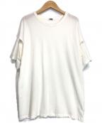 H BEAUTY&YOUTH(エイチ ビューティアンドユース)の古着「SLIT SLEEVE T-SHIRT」|ホワイト