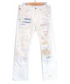 DENIM & SUPPLY RALPH LAUREN(デニムアンドサプライ ラルフローレン)の古着「リペア加工デニムパンツ」|ホワイト