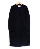 ENFOLD(エンフォルド)の古着「トップリバーノーカラーコート」|ブラック