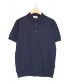 JOHN SMEDLEY(ジョンスメドレ)の古着「コットンニットポロシャツ」|ネイビー