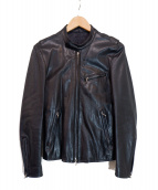 LITHIUM HOMME(リチウム オム)の古着「シングルレザーライダースジャケット」|ブラック