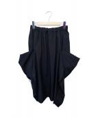 COMME des GARCONS(コムデギャルソン)の古着「ウールギャバジンデザインスカート」|ブラック